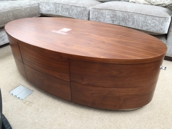 Jual Oval 3 Drawer Walnut Coffee Table | Morale Home Furnishings Pertaining To Walnut 4 Drawer Coffee Tables (View 37 of 40)