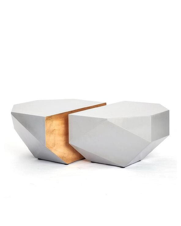 Julia Buckingham Gem Shaped Gray Coffee Tables Throughout Geo Faceted Coffee Tables (Image 18 of 31)