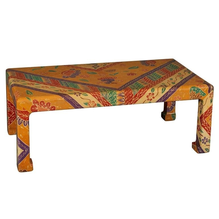 Karl Springer Batik Covered Coffee Table At 1Stdibs Pertaining To Batik Coffee Tables (View 25 of 40)