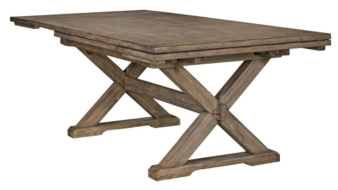 Kincaid Furniture Foundry Rustic Weathered Gray Saw Buck Dining Throughout Potomac Adjustable Coffee Tables (Image 21 of 40)