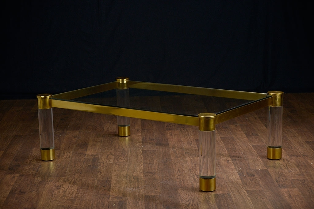 Kloss Acrylic And Brass Coffee Table – Mecox Gardens Regarding Acrylic Glass And Brass Coffee Tables (View 22 of 40)