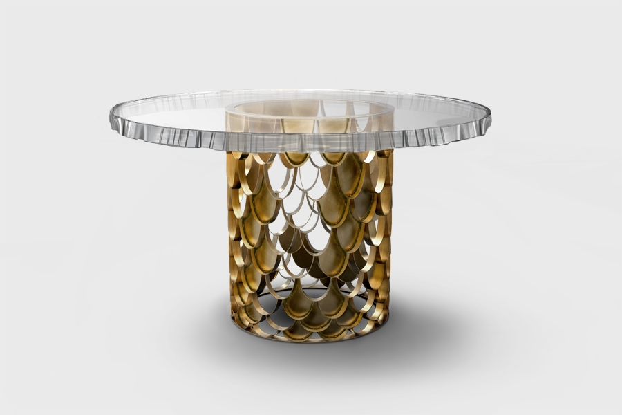 Koi Dining Table I Koi #midcentury Round #diningroom Table Has A Intended For Acrylic & Brushed Brass Coffee Tables (Image 29 of 40)