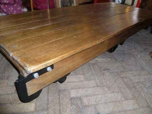 Large 7Ft Industrial Mill Trolley /coffee Table – Antiques Atlas With Mill Large Coffee Tables (Photo 22 of 40)