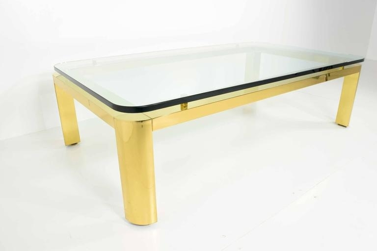 Large Brass Finish Base Coffee Table With Glass Top For Sale At 1Stdibs Regarding Rectangular Brass Finish And Glass Coffee Tables (View 22 of 40)