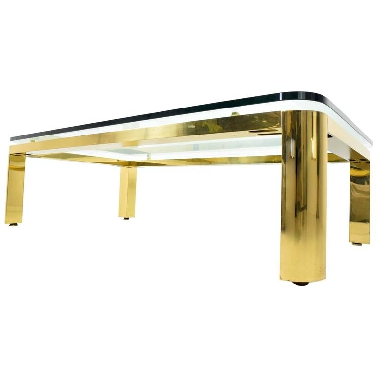 Large Brass Finish Base Coffee Table With Glass Top For Sale At 1Stdibs Within Rectangular Brass Finish And Glass Coffee Tables (Photo 8 of 40)
