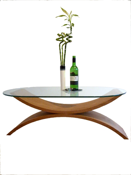 Large Coffee Table With Wooden Snaking Curves And Glass Top In Contemporary Curves Coffee Tables (View 18 of 40)