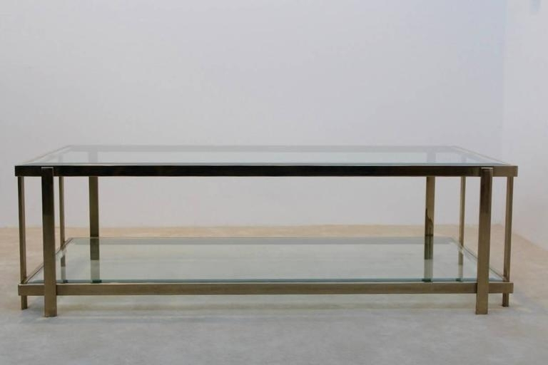 Large Graphical Glass Coffee Table On An Elegant Brass Frame, France With Rectangular Brass Finish And Glass Coffee Tables (Image 20 of 40)