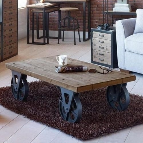 Large Industrial Wooden Iron Coffee Table With Black Wheels Retro With Autumn Cocktail Tables With Casters (Image 17 of 40)