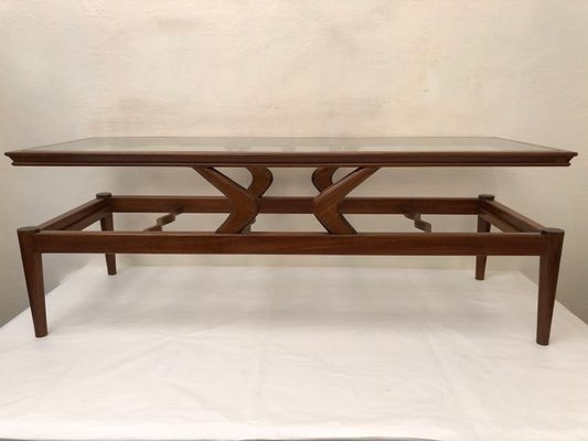 Large Italian Glass And Teak Coffee Table, 1950S For Sale At Pamono For Large Teak Coffee Tables (Photo 5 of 40)