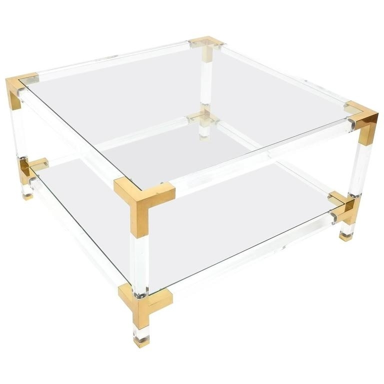 Large Maison Jansen Lucite And Brass Coffee Or Cocktail Table For Throughout Kai Large Cocktail Tables (Image 21 of 40)
