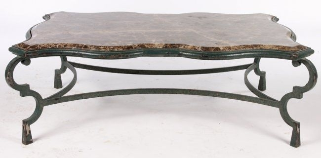 Large Wrought Iron Coffee Table Marble Top On | Iron | Pinterest Throughout Iron Marble Coffee Tables (Image 21 of 40)