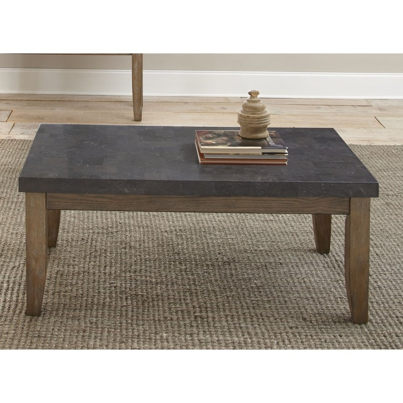 Lark Manor Dejardins Bluestone Coffee Table & Reviews | Wayfair Throughout Bluestone Rustic Black Coffee Tables (Photo 9 of 40)