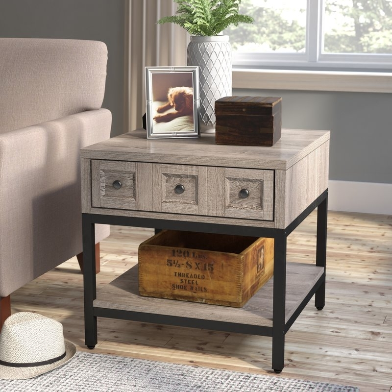 Laurel Foundry Modern Farmhouse Omar End Table With Storage With Large Scale Chinese Farmhouse Coffee Tables (Image 29 of 40)