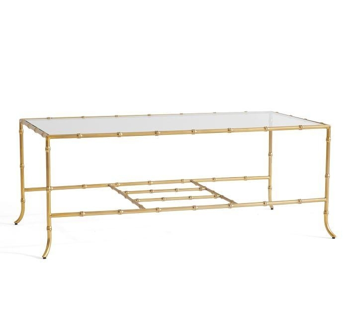Leo Rectangular Gold Bamboo Glass Coffee Table Within Rectangular Brass Finish And Glass Coffee Tables (Photo 10 of 40)
