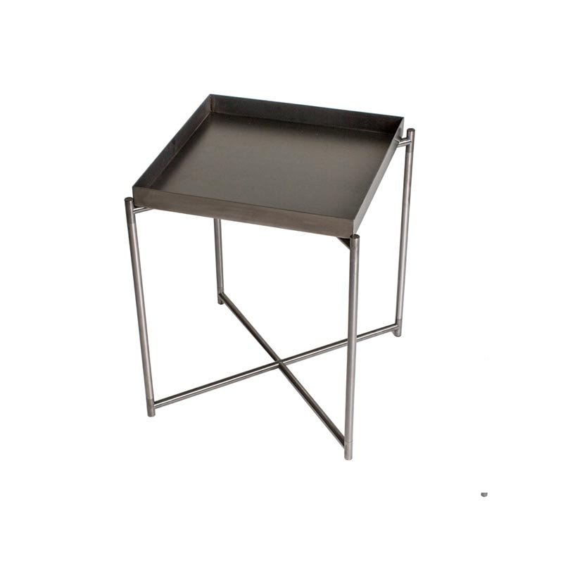 Leone Side Table With Gunmetal Tray – Casa Uniqua With Regard To Gunmetal Coffee Tables (View 12 of 40)