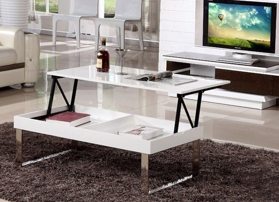 Lift Top Coffee Table Gloss White Finish [Md14F28 1612] – $ (Image 26 of 40)