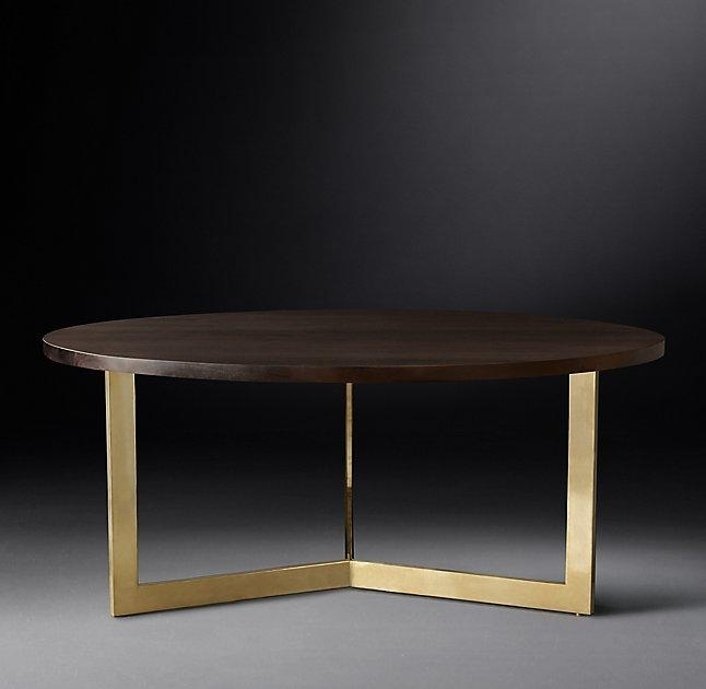 Linear Round Brass Legs Dining Table Intended For Rectangular Coffee Tables With Brass Legs (View 25 of 40)