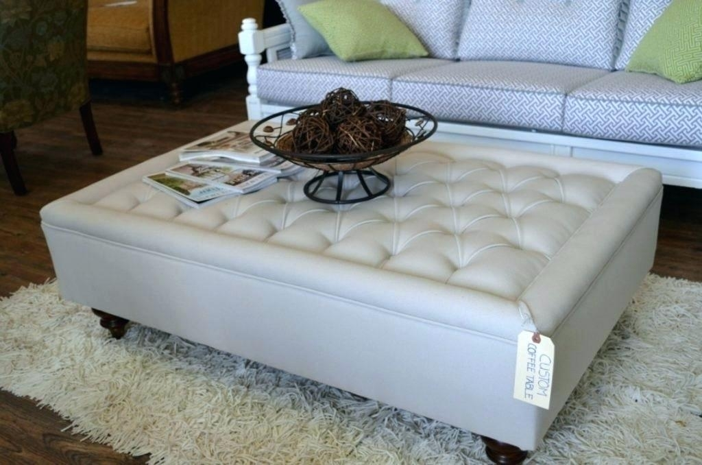 Linen Ottoman Coffee Table Burgundy Ottoman Medium Size Of Tufted For Round Button Tufted Coffee Tables (Photo 27 of 40)