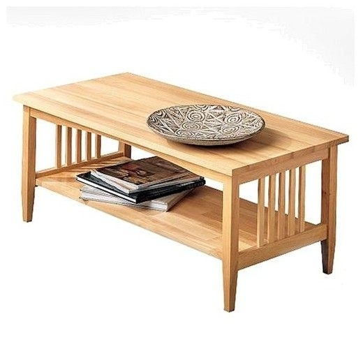 Linon Mission Natural Coffee Table | Low Shelves, Decorative Accents With Light Natural Coffee Tables (View 19 of 40)