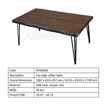 Live Edge Coffee Table – Buy Live Edge,coffee Table,metal Leg Table For Live Edge Teak Coffee Tables (View 22 of 40)