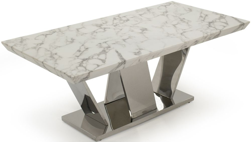 Living Room Coffee Tables Marble And Granite White Marble Effect Regarding Marble Coffee Tables (Image 17 of 40)