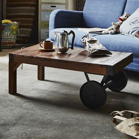 Livingut: Center Table Trolley Table S Wheels With Width 90 Cm With Natural Wheel Coffee Tables (Image 27 of 40)
