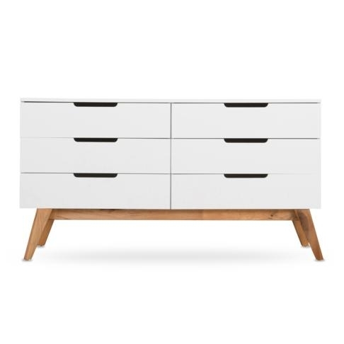 Loft Chest Of Drawers Walnut & White With Regard To Walnut Finish 6 Drawer Coffee Tables (Image 25 of 40)