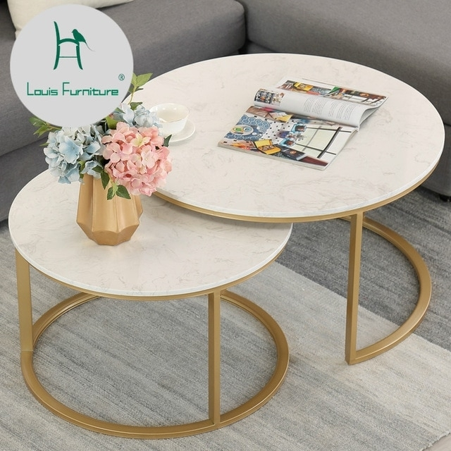 Louis Fashion Coffee Table Marble Simple Living Room Modern Creative For Modern Marble Iron Coffee Tables (Image 21 of 40)