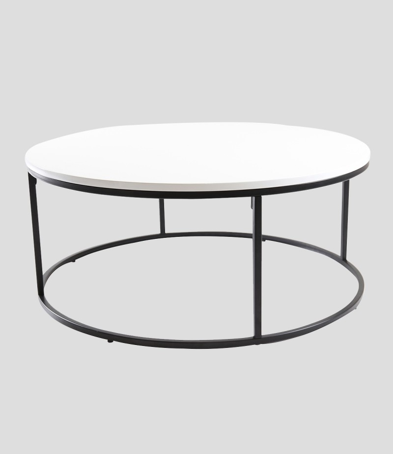 Louis Round High Gloss Coffee Table White – Godotti Within Stack Hi Gloss Wood Coffee Tables (Image 18 of 40)