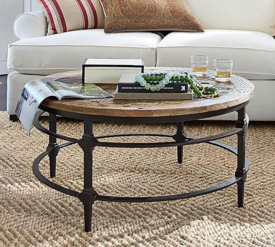 Lovely Wooden Round Coffee Table With Parquet Reclaimed Wood Round With Regard To Parquet Coffee Tables (Image 15 of 40)