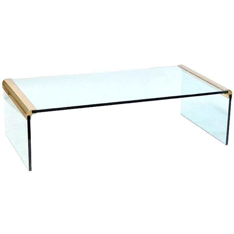 Lucite And Brass Coffee Table For Square Waterfall Coffee Tables (Photo 34 of 40)