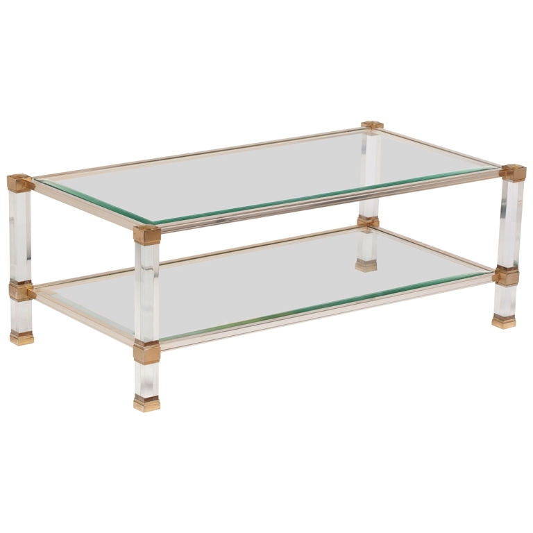Lucite And Brass Coffee Table – Writehookstudio Intended For Acrylic Glass And Brass Coffee Tables (Photo 11 of 40)