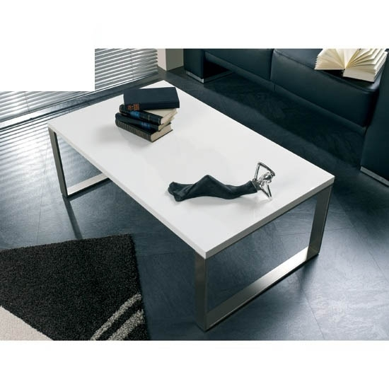 Luna Coffee Table In High Gloss White With Stainless Steel Pertaining To Stack Hi Gloss Wood Coffee Tables (Image 19 of 40)