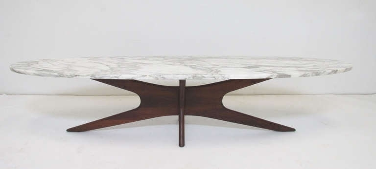 Luxurious Coffee Table Mid Century Modern Marble Top Surfboard In Mid Century Modern Marble Coffee Tables (Image 11 of 40)