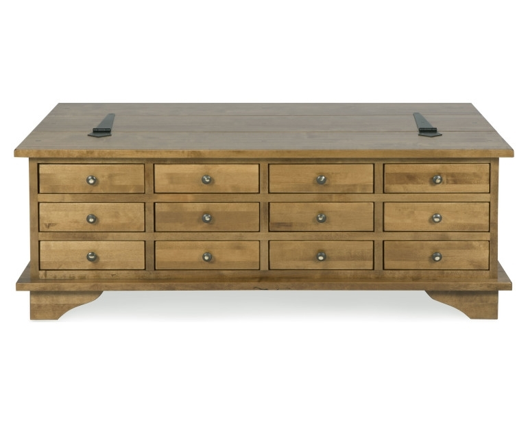 Made To Order Furniture – Garrat Honey 12 Drawer Coffee Table Regarding Natural 2 Drawer Shutter Coffee Tables (Image 30 of 40)