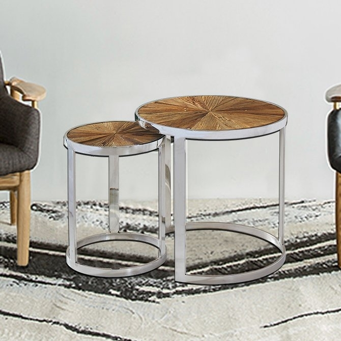 Magari Eclisse Reclaimed Elm Wood 2 Piece Nesting Tables | Wayfair With Reclaimed Elm Iron Coffee Tables (View 27 of 40)