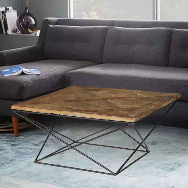 Magari Furniture Gl1559 Torcere Reclaimed Elm Wood Coffee Table | Ebay In Reclaimed Elm Iron Coffee Tables (View 16 of 40)