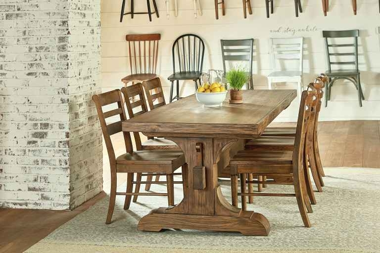Magnolia Home Dining Room Keyed Trestle Table Setting With 6 Value In Magnolia Home Iron Trestle Cocktail Tables (Image 22 of 40)
