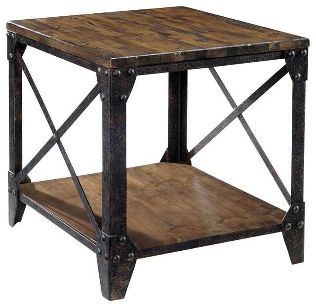 Magnussen Pinebrook End Table In Distressed Pine – Industrial – Side With Regard To Natural Pine Coffee Tables (Image 22 of 40)