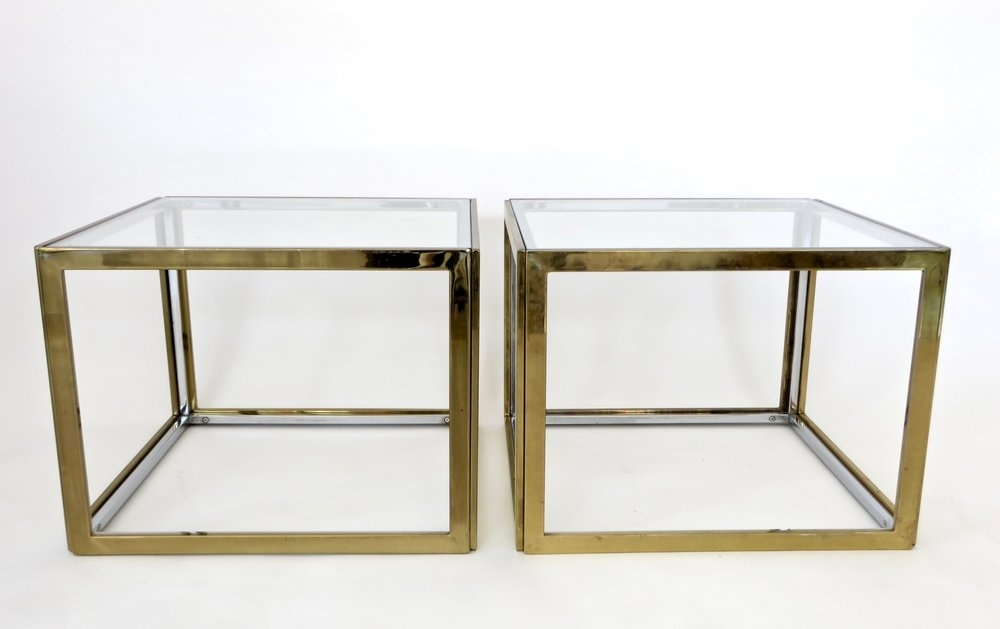 Maison Charles Et Fils French Chrome And Brass Coffee Table Two Within Brass Iron Cube Tables (Image 23 of 40)