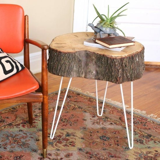 Make A Pair Of Rustic End Tables From The Sliced Portion Of A Tree Pertaining To Sliced Trunk Coffee Tables (View 24 of 40)