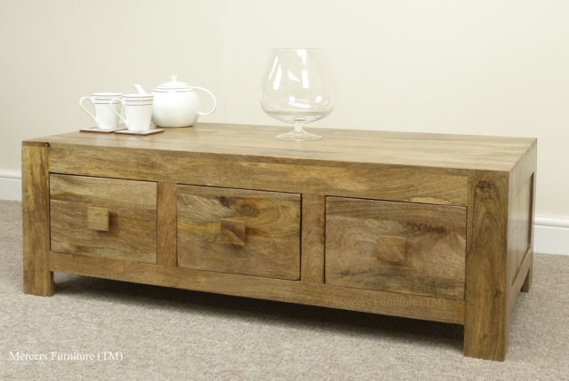 Mantis Light Natural Solid Mango 6 Drawer Coffee Table Oak Furniture In Light Natural Coffee Tables (Photo 9 of 40)