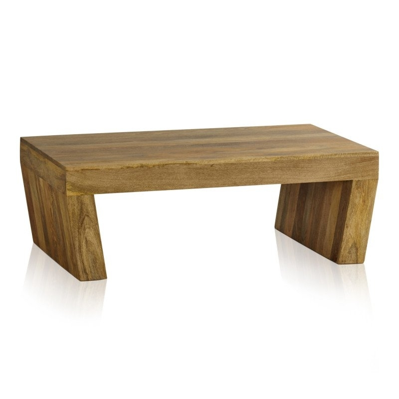 Mantis Light Natural Solid Mango Angled Coffee Table | Coffee Tables Pertaining To Natural 2 Drawer Shutter Coffee Tables (View 14 of 40)