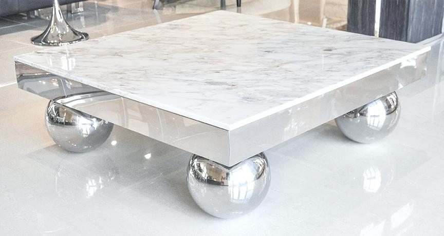 Marble And Metal Coffee Table Wrought Iron Coffee Table White Marble With Regard To Modern Marble Iron Coffee Tables (Image 23 of 40)