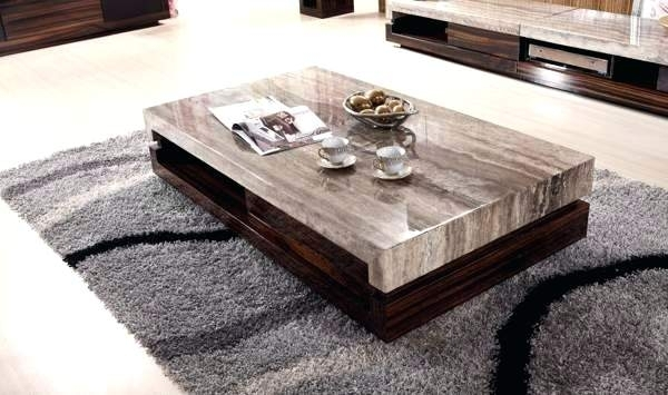 Marble And Wood Coffee Table Slab Large Marble Coffee Table With Pertaining To Slab Large Marble Coffee Tables With Brass Base (Image 20 of 40)