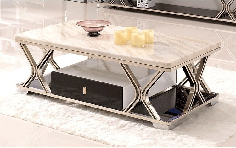 Marble Coffee Table For Living Room High Quality Home Furniture Pertaining To Large Slab Marble Coffee Tables With Antiqued Silver Base (Image 12 of 40)