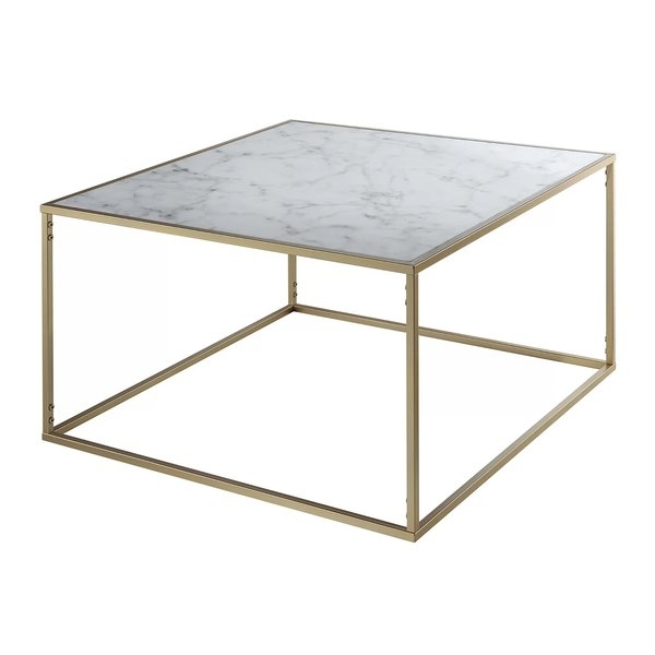 Marble/granite Top Coffee Tables You'll Love | Wayfair For Brass Iron Cube Tables (Image 24 of 40)