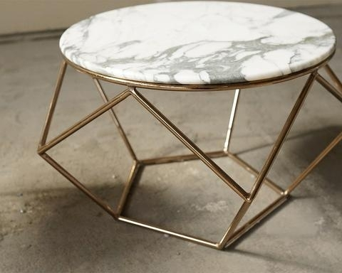 Marble Rose Gold Pentagon Table Vintage Meets Modern Regarding Regarding Modern Marble Iron Coffee Tables (Image 26 of 40)