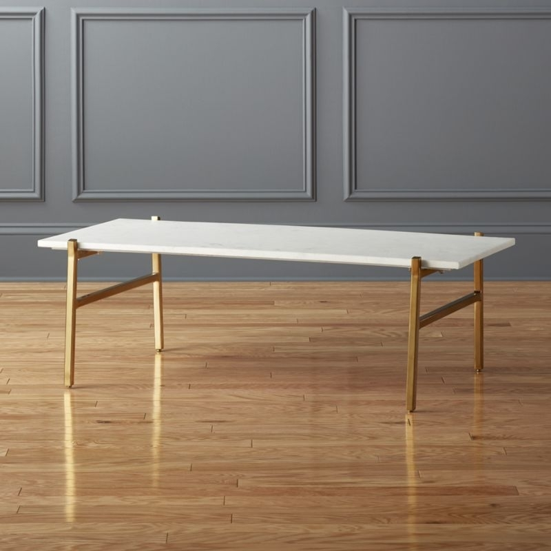 Marble Tables | Cb2 Throughout Rectangular Coffee Tables With Brass Legs (View 8 of 40)