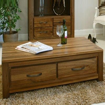 Mayan Solid Walnut 4 Drawer Coffee Table – Robson Furniture Regarding Walnut 4 Drawer Coffee Tables (View 3 of 40)